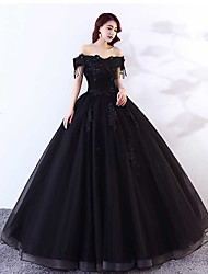 cheap -Ball Gown Off Shoulder Floor Length Lace / Tulle Cap Sleeve Black Made-To-Measure Wedding Dresses with Appliques 2020