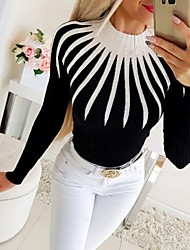 cheap -Women's Color Block Slim T-shirt Daily White / Black / Long Sleeve