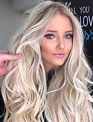 cheap -Synthetic Wig Body Wave Asymmetrical Wig Blonde Long Light Blonde Synthetic Hair 25 inch Women's Best Quality Middle Part Blonde
