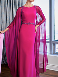 cheap -Sheath / Column Jewel Neck Floor Length Chiffon / Charmeuse Long Sleeve Plus Size Mother of the Bride Dress with Ruching 2020