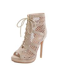 cheap -Women's Sandals Stiletto Heel Peep Toe Microfiber Classic / Vintage Spring & Summer Black / Almond / Party & Evening