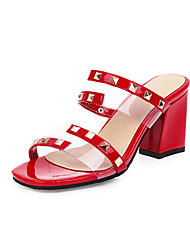 cheap -Women's Sandals Chunky Heel Open Toe Rivet PU Minimalism Spring & Summer Black / Almond / White / Party & Evening / Color Block