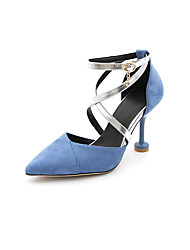 cheap -Women's Sandals Stiletto Heel Pointed Toe Suede Minimalism Spring & Summer Black / Blue / Beige / Wedding / Party & Evening / Color Block