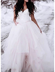 cheap -A-Line Wedding Dresses V Neck Floor Length Lace Tulle Spaghetti Strap Romantic Plus Size with 2020