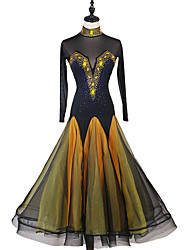 cheap -Ballroom Dance Dresses Women's Performance Spandex / Organza Crystals / Rhinestones Long Sleeve Dress