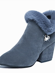 cheap -Women's Boots Chunky Heel Round Toe Suede Booties / Ankle Boots Fall & Winter Black / Gray