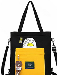 cheap -Women's Zipper Canvas Tote Solid Color Black / White / Yellow