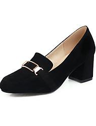 cheap -Women's Heels Chunky Heel Square Toe Suede Casual / Minimalism Spring & Summer Black / Beige