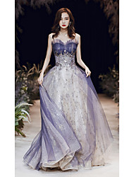 cheap -A-Line Elegant Sparkle Wedding Guest Prom Formal Evening Dress Strapless Sleeveless Floor Length Satin Tulle Sequined with 2020