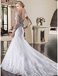 cheap -Mermaid / Trumpet Wedding Dresses Bateau Neck Court Train Lace Tulle Lace Over Satin Long Sleeve Sexy See-Through Backless Illusion Sleeve with Appliques 2021
