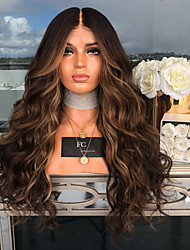 cheap -Synthetic Wig Body Wave Asymmetrical Wig Long Brown Synthetic Hair 27 inch Women's curling Brown