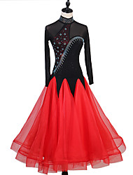 cheap -Ballroom Dance Dresses Women's Training Milk Fiber Sash / Ribbon Long Sleeve High Dress