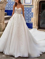 cheap -A-Line Sweetheart Neckline Court Train Lace / Tulle Strapless Formal / Romantic Illusion Detail Wedding Dresses with 2020