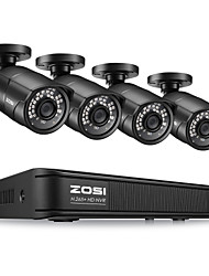 cheap -ZOSI H.265 Compression 4CH 1080P PoE NVR Outdoor Home Security Surveillance CCTV System Kit with 100ft Night Vision P2P 2MP IP Bullet Camera Waterproof IP67