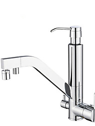 cheap -Kitchen faucet - Three Handles Two Holes Electroplated Standard Spout Centerset Contemporary Kitchen Taps