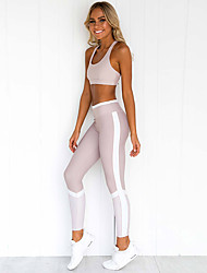 cheap -Women's 2-Piece Side-Stripe Activewear Set Workout Outfits Athletic 2pcs High Waist Nylon Breathable Quick Dry Soft Fitness Gym Workout Running Jogging Sportswear Sport Bra With Running Pants Light