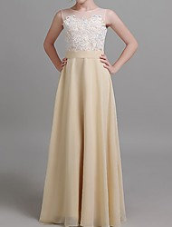 cheap -A-Line Round Neck Floor Length Chiffon Junior Bridesmaid Dress with Embroidery
