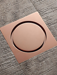 cheap -4 Inch Square Brass Rose Gold Floor Drain Bathroom Shower Drains with Plastic Anti Odor Core
