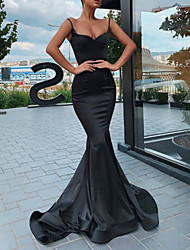 cheap -Mermaid / Trumpet V Neck Sweep / Brush Train Lace Spaghetti Strap Formal Black Wedding Dresses with Draping 2020