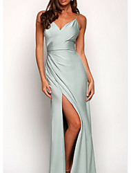 cheap -A-Line Spaghetti Strap Floor Length Charmeuse Bridesmaid Dress with Split Front / Ruching