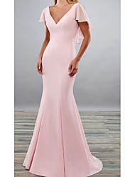 cheap -Mermaid / Trumpet V Neck Floor Length Satin Short Sleeve Elegant Mother of the Bride Dress with Ruffles / Ruching 2020
