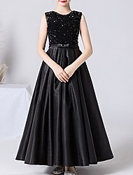 cheap -A-Line Jewel Neck Ankle Length POLY / Sequined Junior Bridesmaid Dress with Bow(s)
