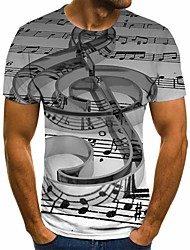 cheap -Men's Plus Size Geometric 3D Pleated Print T-shirt Street chic Exaggerated Daily Going out Round Neck Gray / Short Sleeve