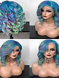 cheap -Synthetic Wig Curly kinky Straight Asymmetrical Wig Medium Length Rainbow Synthetic Hair 15 inch Women's Best Quality Mixed Color