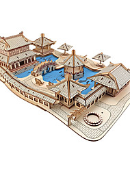 cheap -3D Puzzle Model Building Kit Wooden Model Famous buildings House Shaolin Temple DIY Wooden Natural Wood Kid's Unisex Toy Gift