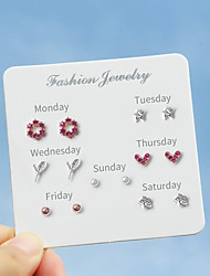 cheap -Women's Stud Earrings Earrings Earrings Set Round Cut Heart Flower Star Korean Sweet Fashion Cute Imitation Diamond Earrings Jewelry Silver For Graduation Daily Stage Holiday Work