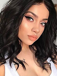 cheap -Synthetic Lace Front Wig Wavy Side Part Lace Front Wig Short Brown Synthetic Hair 10-16 inch Women's Cosplay Soft Adjustable Brown