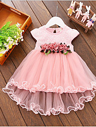 cheap -Short Sleeve Floral Lace Ruffles Holiday Party Flower Baby Dress