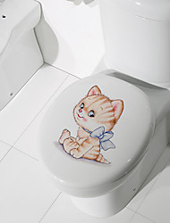 cheap -Toilet Stickers - Animal Wall Stickers Animals Bathroom / Kids Room 12*14.5cm