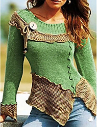 cheap -Women's Color Block Long Sleeve Pullover Sweater Jumper, Round Neck Red / Green / Blue S / M / L