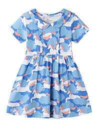 cheap -Toddler Girls' Color Block Short Sleeve Above Knee Dress Blue