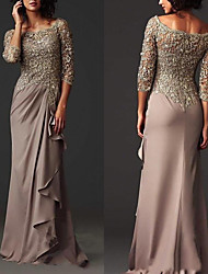 cheap -A-Line Scoop Neck Sweep / Brush Train Chiffon / Lace Elegant Engagement / Formal Evening Dress with Ruffles 2020