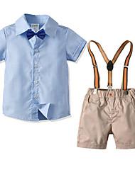 cheap -Kids Boys' Basic Birthday Party Party & Evening Black & White Solid Colored Short Sleeve Regular Regular Clothing Set Light Blue