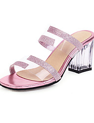 cheap -Women's Sandals Spring & Summer Chunky Heel Open Toe Minimalism Daily Party & Evening Color Block PU Black / Light Purple / Gold / Clear / Transparent / PVC