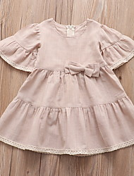 cheap -Baby Girls' Basic Solid Colored Short Sleeve Dress Beige