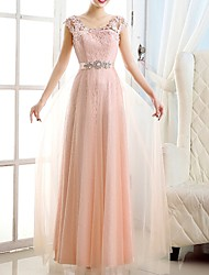 cheap -A-Line Pink Spring Engagement Formal Evening Dress V Neck Short Sleeve Floor Length Polyester with Sash / Ribbon Appliques 2020