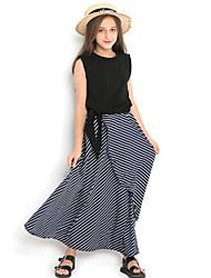 cheap -Kids Girls' Striped Dress Black