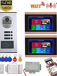 cheap -7inch Record Wired Wifi Video Intercom 2 Apartments Doorphone System with  RFID 1080P Doorbell Camera Electric Strike Lock