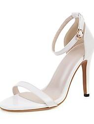cheap -Women's Sandals Stiletto Heel Open Toe Buckle PU Minimalism Spring & Summer Light Yellow / White / Beige / Party & Evening
