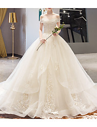 cheap -A-Line Wedding Dresses Off Shoulder Court Train Lace Sleeveless Casual Illusion Detail Plus Size with Lace Insert 2020