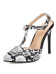 cheap -Women's Heels Stiletto Heel Pointed Toe Buckle PU Spring & Summer Black / Black / White / White / Party & Evening