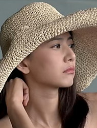 cheap -Women's Basic Straw Sun Hat-Solid Colored Light Brown Beige