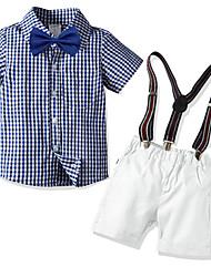 cheap -Kids Boys' Basic Birthday Party Party & Evening Black & White Print Print Short Sleeve Regular Regular Clothing Set Light Blue