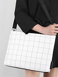 cheap -Women Notebook Ipad Bag Plaid PU Leather Messenger Handbag Fashion lattice shoulder Computer bags