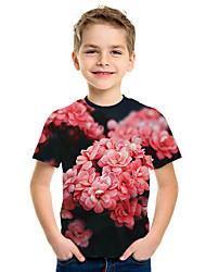 Недорогие -Дети Мальчики Активный Уличный стиль Цветочный принт 3D С принтом С короткими рукавами Футболка Красный