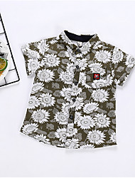 cheap -Kids Boys' Basic Geometric Short Sleeve Shirt Army Green